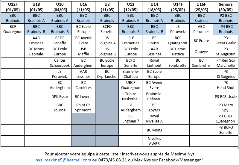 Inscriptions tournois - MAJ 19/03