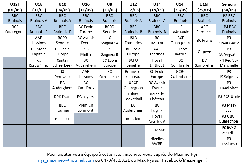 Inscriptions tournois - MAJ 26/03